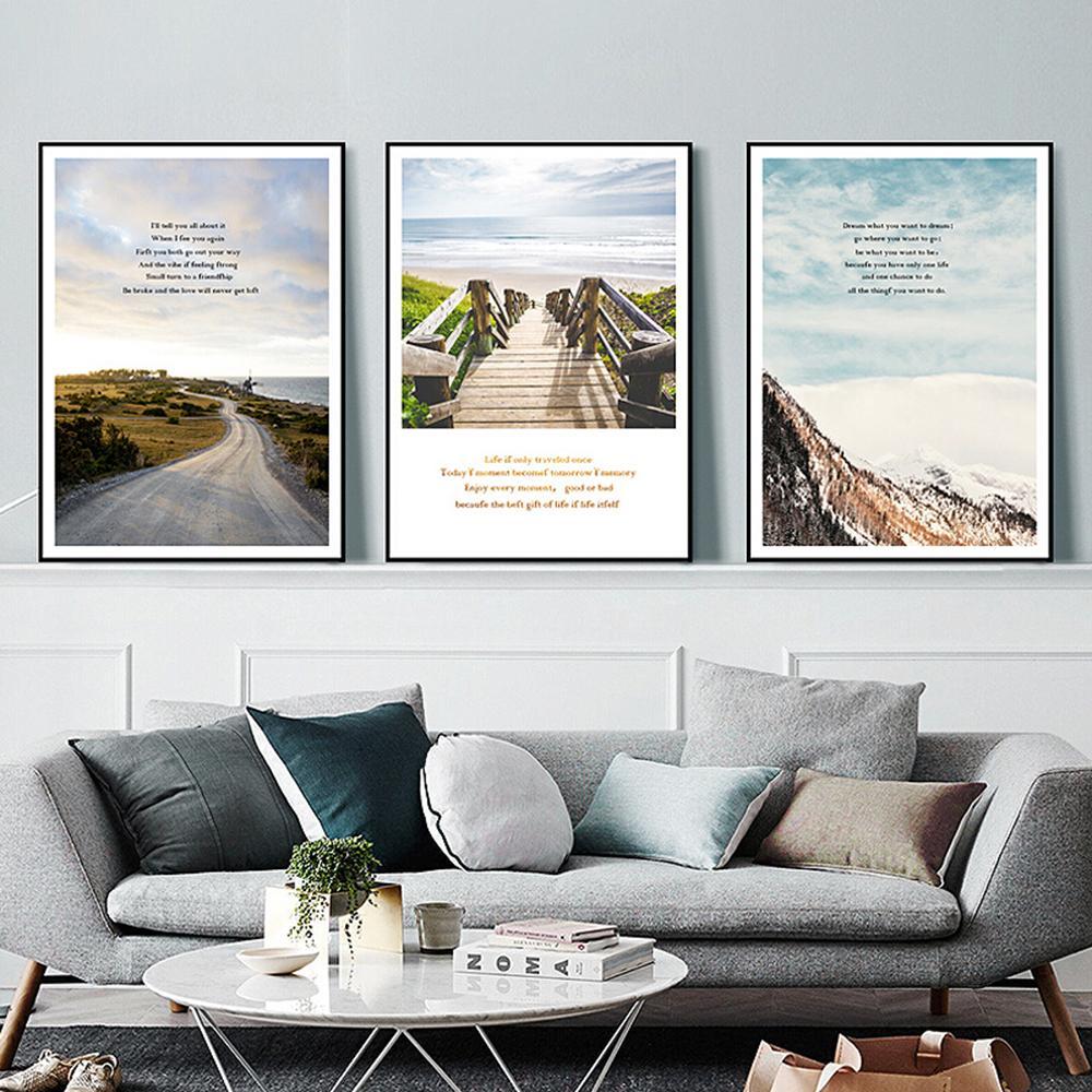 Nordic Mare paesaggio di arte della parete della tela di canapa pittura nordica Poster e stampe a casa per Soggiorno Camera da letto Decor