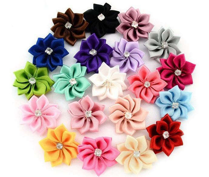 Main satin fleur sans clip fleurs en tissu avec strass Appliqués Bandeaux Accessoires de vêtement 587