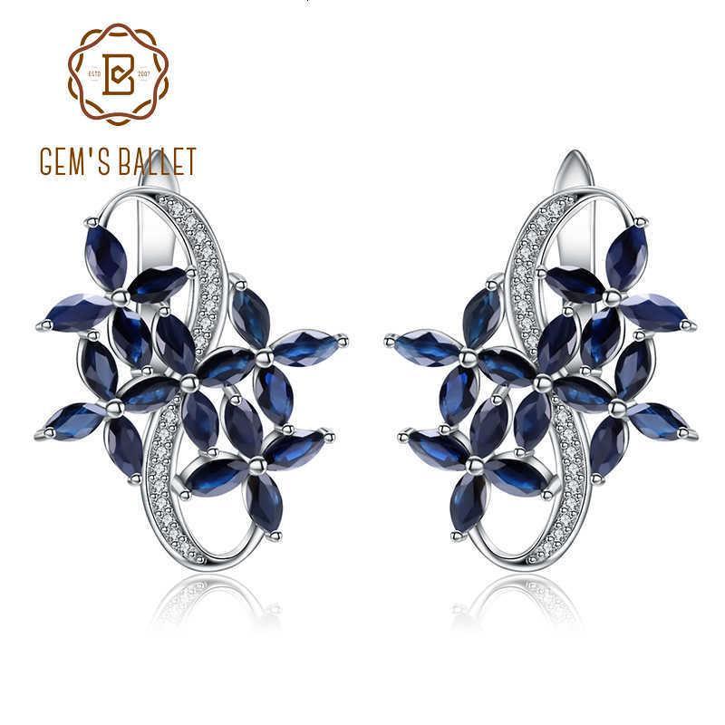 BALLET DE GEM sólido Pendientes marquesa natural azul zafiro de la piedra preciosa de plata de ley 925 para el 8.71Ct CJ191203 joyería fina regalo de las mujeres