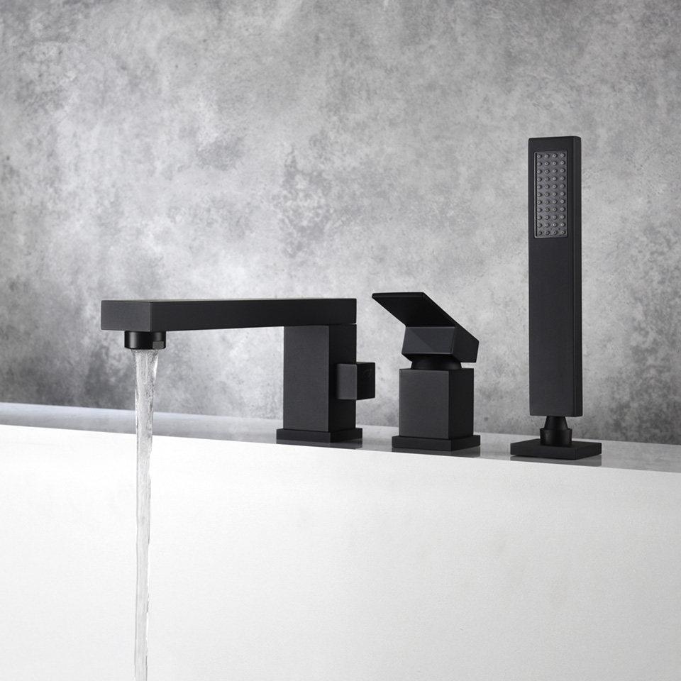 욕실 욕조 물 탭 3 개 홀 데크는 목욕 샤워 꼭지 닦았 골드 블랙 욕조 화장실 물 믹서 탑재