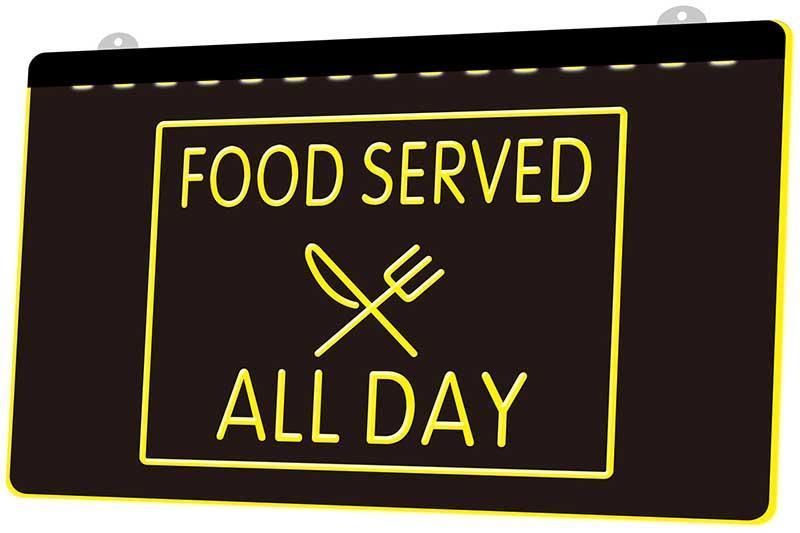 LS1669 0 Küche serviert All Day Cafe Restaurant RGB Multiple Color Fernbedienung 3D Gravur LED Neonlicht-Zeichen-Shop Bar Pub-Club