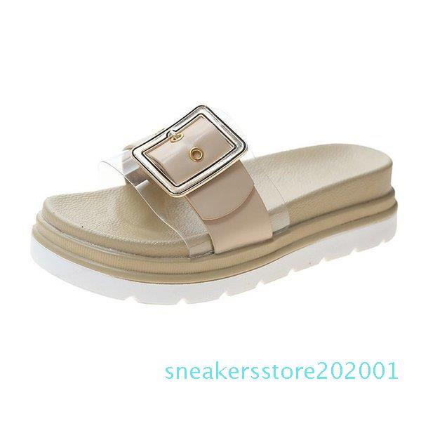 Med Ayakkabı Lastik Terlik Şeffaf Topuk Slaytlar slipers Kadınlar Platformu Yaz 2020 Yumuşak Düz Roma Skandallar Kumaş Casual