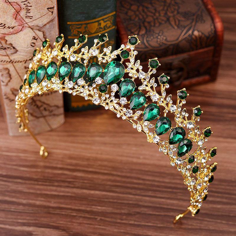 Baroque Green Blue Crystal Gold Tiara Red Crown Wedding Hair Accessories Hairband Princess Big Queen King Bridal Crown Headpiece C18112001