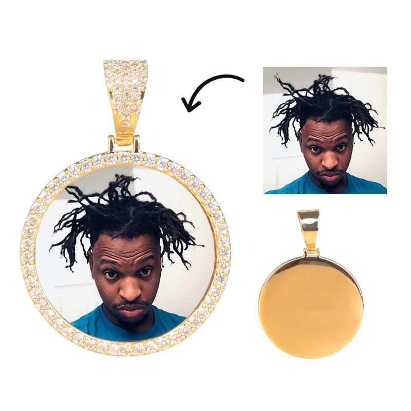 Custom Photo Large Size Round Pendant Necklace Personality Men's Hip Hop Iced Out 4mm Tennis Chain Cubic Zircon Gold Silve Gift
