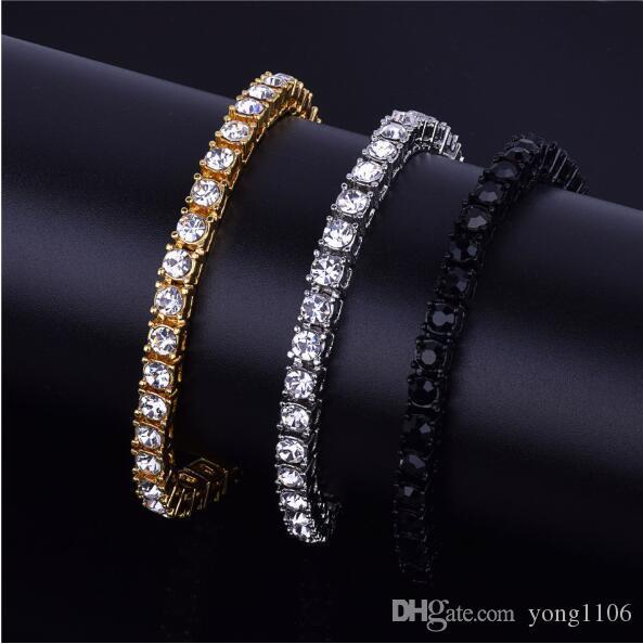 Designer de luxo BLING HIP HOP 1 row personalidade pulseira de liga de jóias da moda tudo bracelete de diamantes única linha de jóias populares
