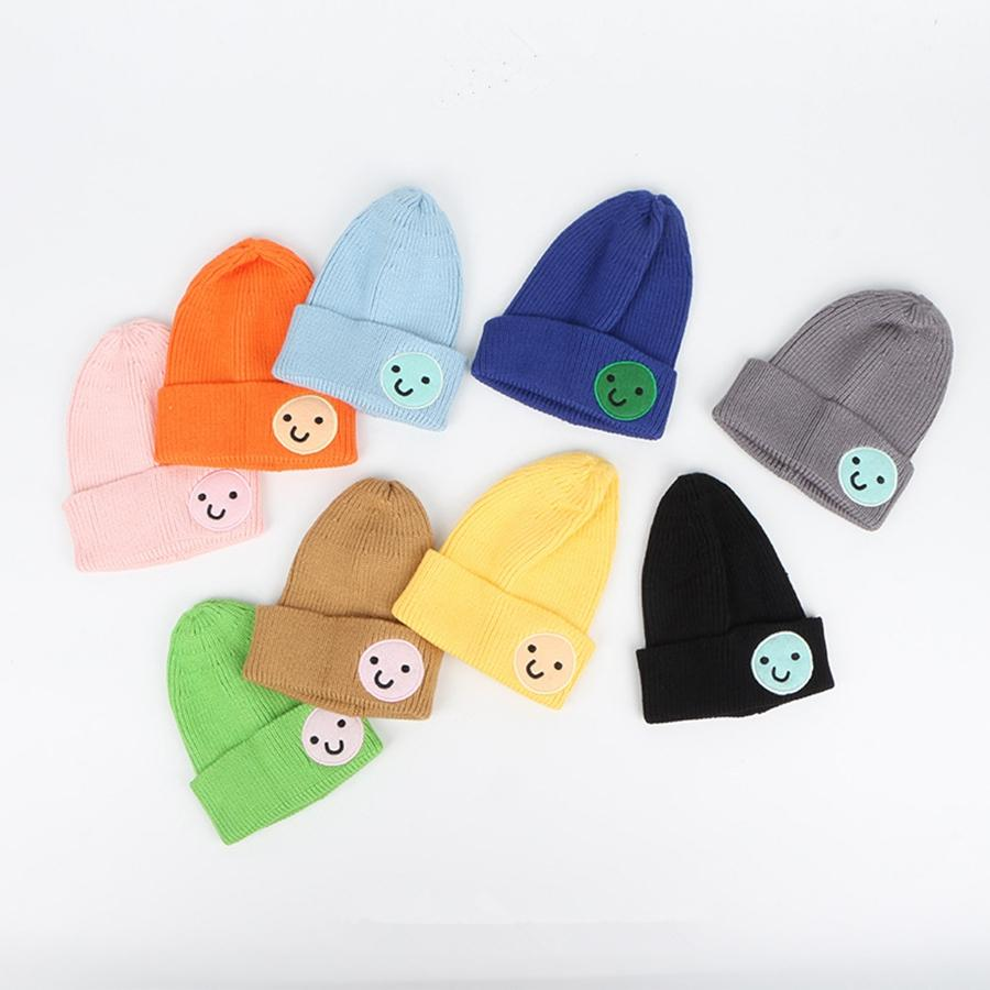 Kids Smile Crochet Beanies Hat Girl Candy Color Warm Knitted Cap Baby Outdoor Warm Ski Hats Party Caps TTA1802