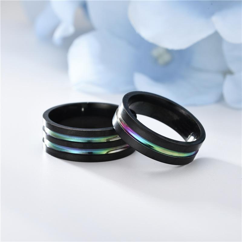 Нержавеющая сталь Rainbow Ring Band Finger Black Groove Rings Fashiono Ювелирные изделия для женщин Мужчины будут и песчаные