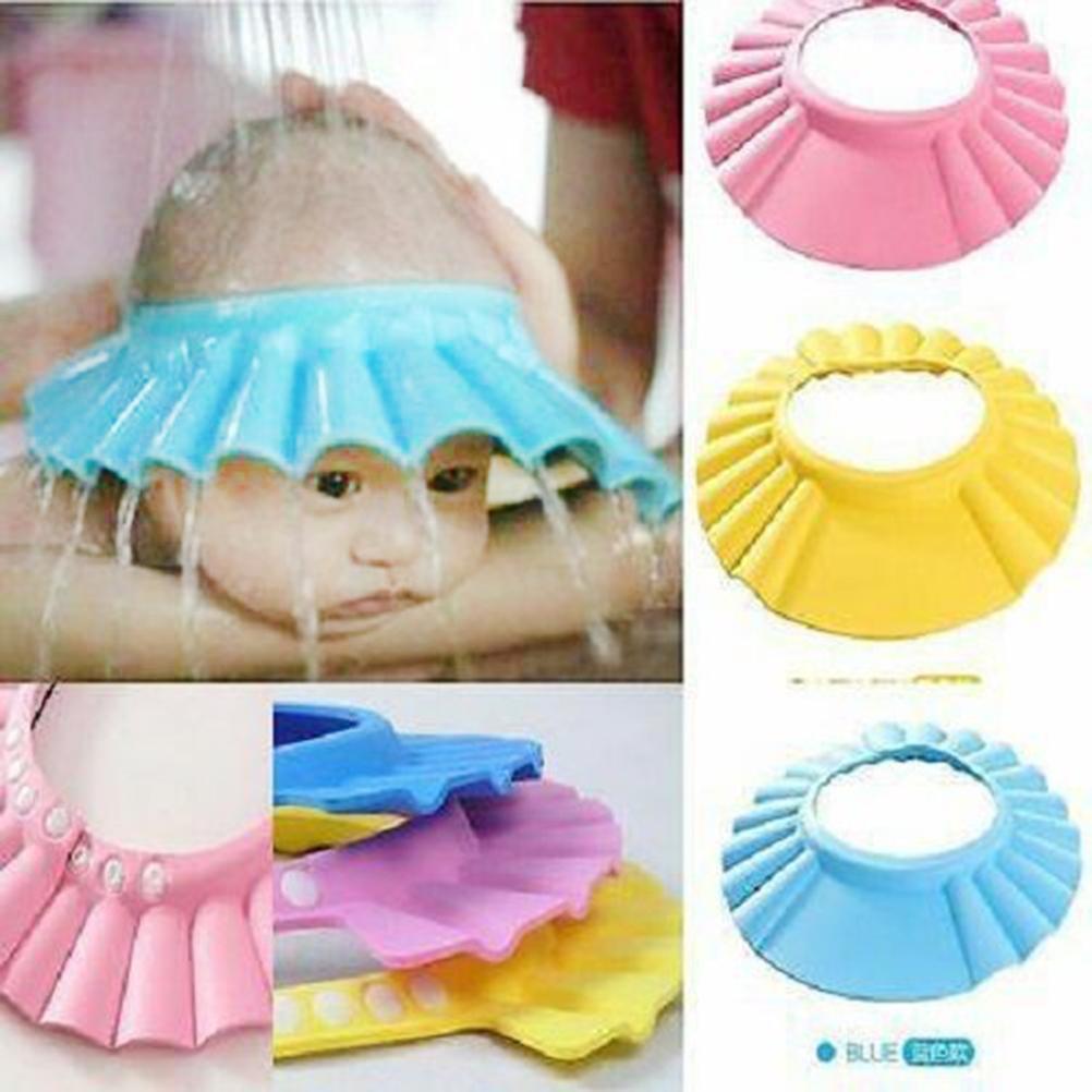 Мытье волос щит Дети купания шапочка для душа Детский шампунь Душ шапочку Мягкий регулируемый Купальный Hat для малышей