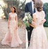 Blush rose rétro robes de mariée 2019 mancherons Vintage Dentelle Tulle Robe de Novia Une ligne Country Style Robes de mariée sur mesure BO6089