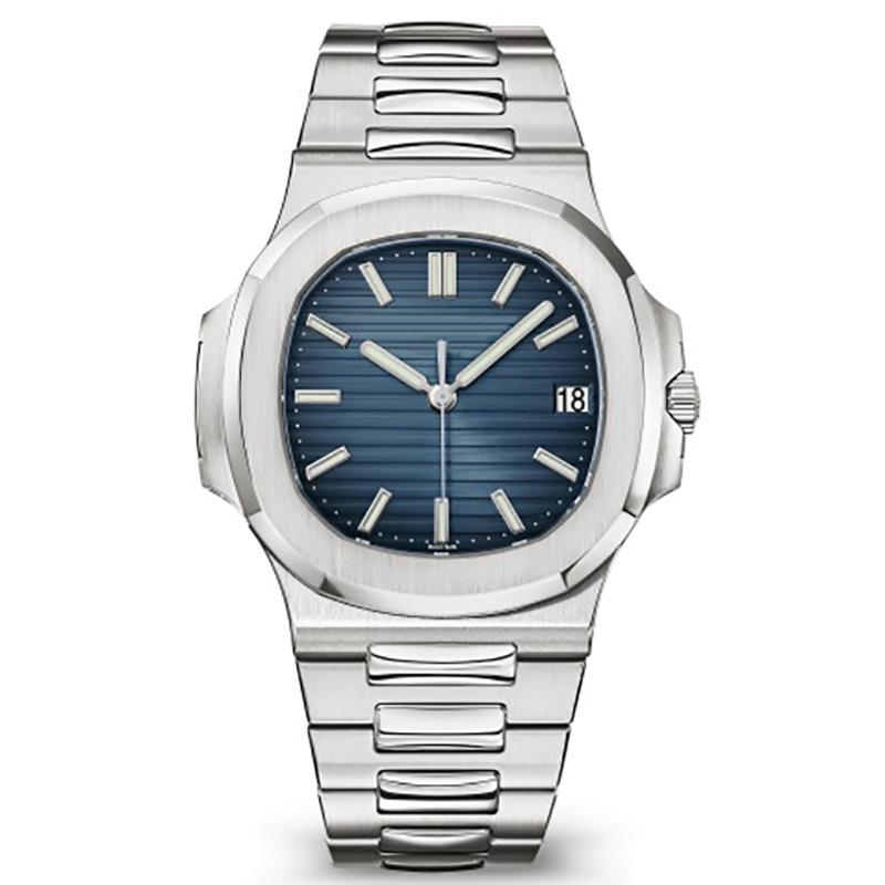 2020 رجالي التلقائية الساعات 40MM نوتيلوس ووتش 5711 الفضة الشريط Orologio الأبيض المقاوم للرجال الميكانيكية دي فندق Lusso ساعة اليد التسجيل كرونو