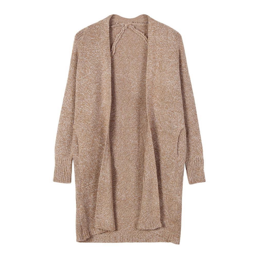 Pulls pour femmes Automne Hiver Femmes Poches Cardigans tricotés Bureau Lady Casual Casual Camel Long Open Stitch Pull