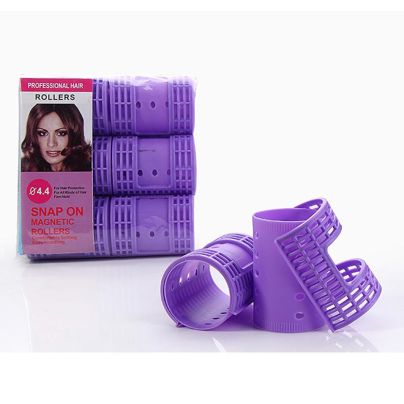 3 Packs 18 Pieces Dia 4.4cm Snap on Hair Rollers Steam Perm Flexi Rods with Clips Clamps Magic Rollers Air Bang Curler 1357