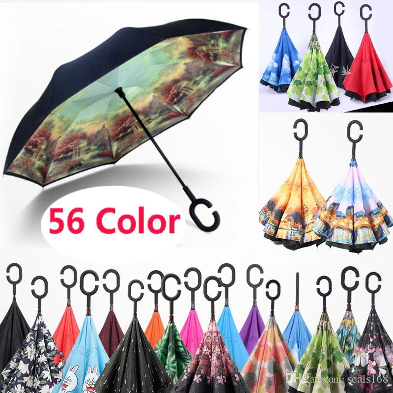 New Folding Reverse Umbrella Double Layer C Handle Umbrellas Inverted Long Handle Windproof Rain Car Umbrellas 56Styles HH7-1950