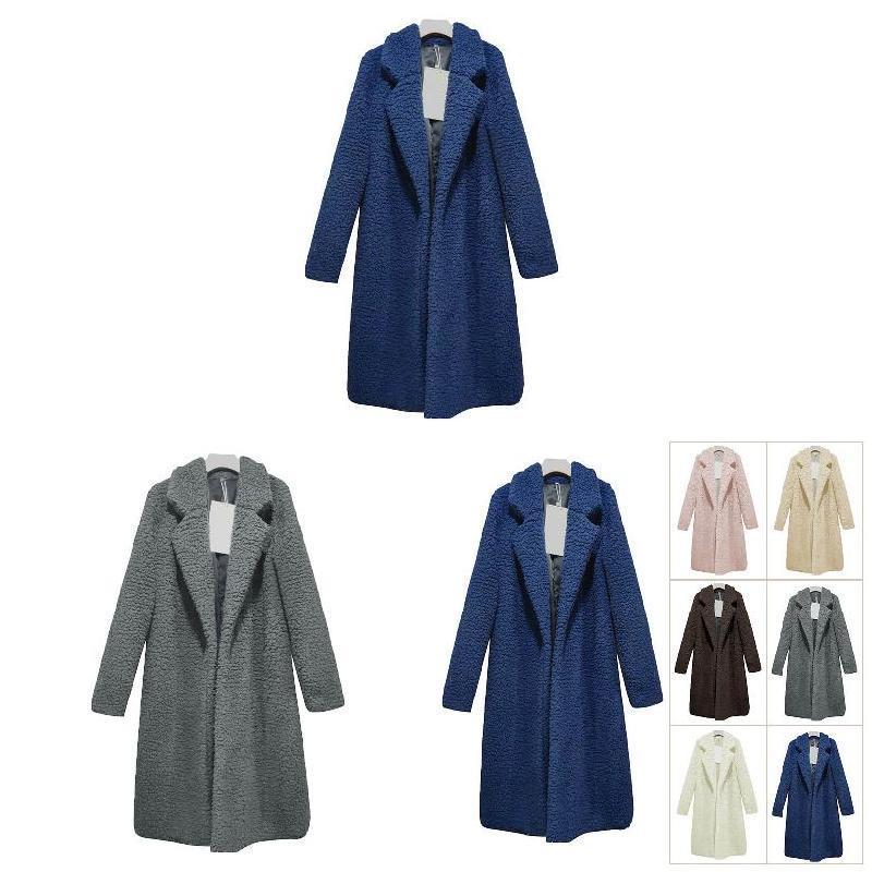 حديثا سيدة نساء معطف الأعلى كم طويل دافئ طية صدر السترة أزياء متوسط الطول لون الصلبة لفصل الشتاء VK-ING