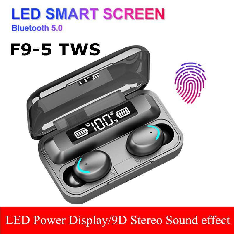 F9-5 TWS Bluetooth écouteurs stéréo 5,0 écouteurs sans fil 9D basse intra-auriculaire mains libres Oreillettes casque avec microphone de charge Ecran LED Case