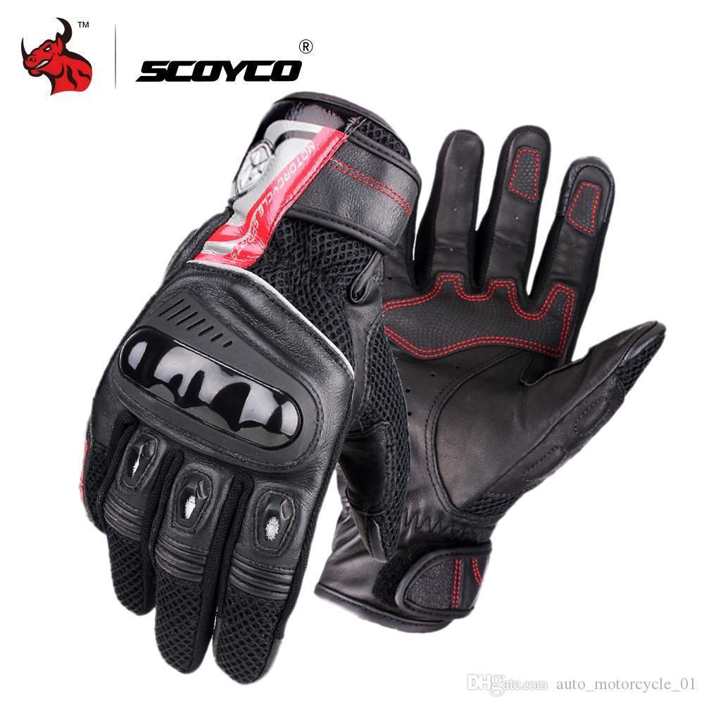 Guanti SCOYCO motociclo traspirante Wearable pelle Guanti Racing Uomini moto Guantes Luvas Moto Motocross Nero