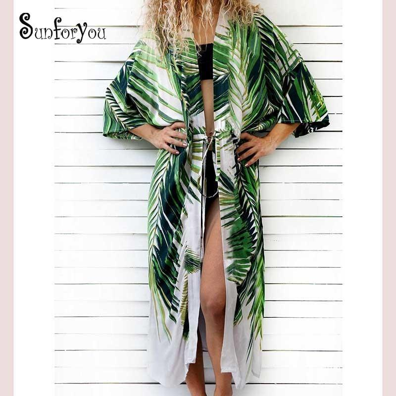 Cotton Beach Print Bathing Suit Cover Up Swimwear Women Kaftan Robe Plage Saida De Praia Tunics Pareo Q190521