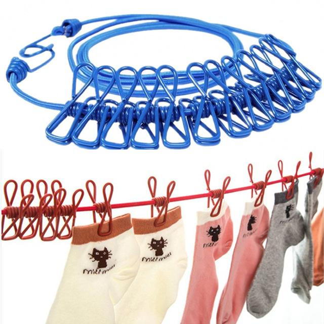 Travel Outdoor  Camping Portable Drying Rope  Clothes Lines Hanging With 12Clips