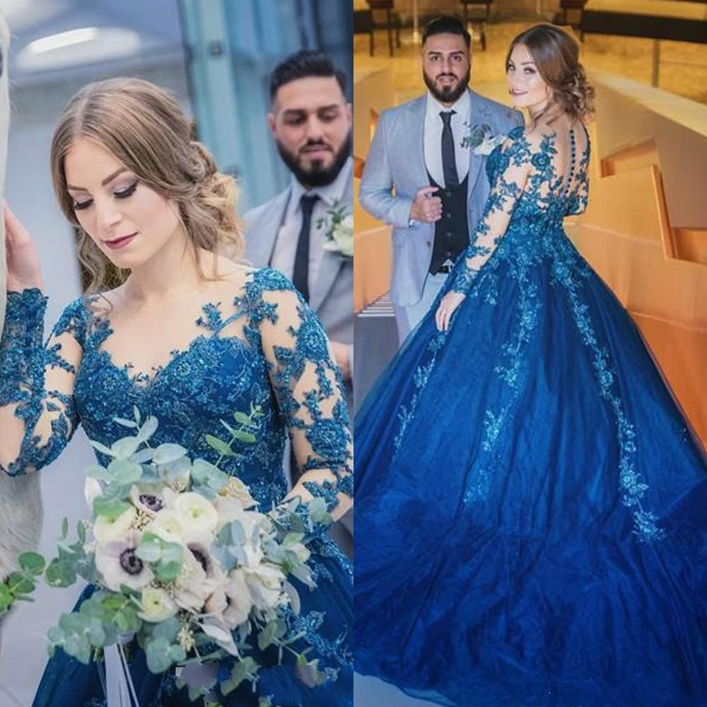 2020 Sexy Elegant Woman Long Sleeves Prom Blue Dresses Plus Size Long Muslim Arabic Evening Gowns Ball Gown Formal Party Dress