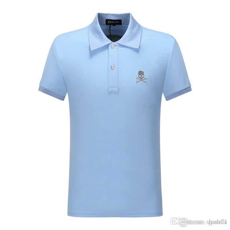 estate di polo uomini del progettista del bicchierino del ricamo manica traspirante squadra Black Watch maglietta di polo M-XXXL cotone 100% di polo