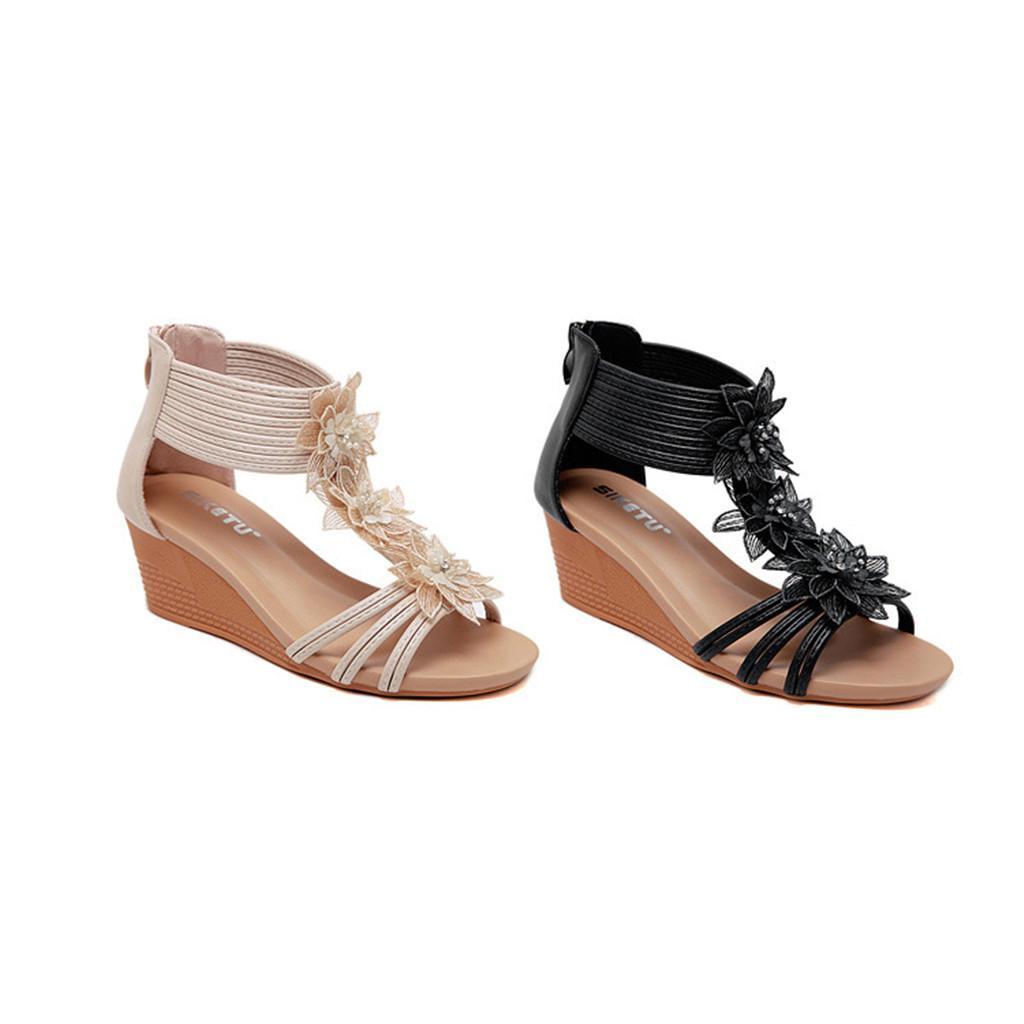 Sagace sandalias mujer romana Lotus estilo de la flor zapatos de cuña del talón de la cubierta Casual Negro atractivo populares Vogue mujeres de las sandalias de verano zapatos