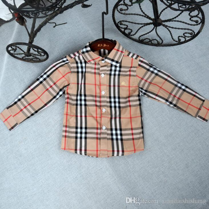 يوم الأطفال الملبس أطفال حار بيع جديد الصيف طويلة الأكمام قمصان منقوشة تي بوي فتاة قمم القطن وسيم التلبيب القميص شحن مجاني