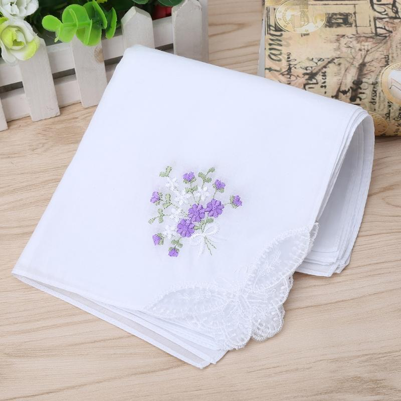 Towels 6 Pcs Vintage Cotton Ladies Embroidered Lace Handkerchief Women Floral Hanky Handkerchief Towels Home & Garden