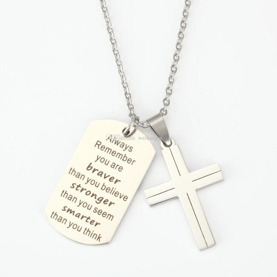 Square Pendant Personalized Necklace with Cross Necklaces Chain Gifts for Women Girl Boys Men Birthday Christmas Engraved