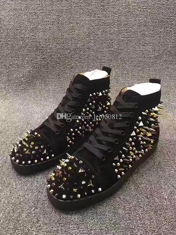 Real Bottom Photo High Top Red Sneakers Shoes Mulheres, Homens Outdoor Moda Casual Walking Mix Spikes instrutor preto Suede Leather Tamanho 36-46