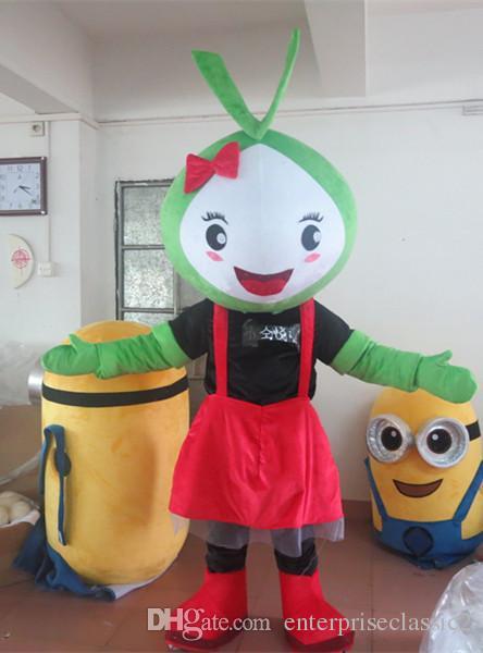 2019 Adult Alien Costume Lovely Cartoon Mascot Costume Custom Cartoon Auspicious Garment Green Alien Costume