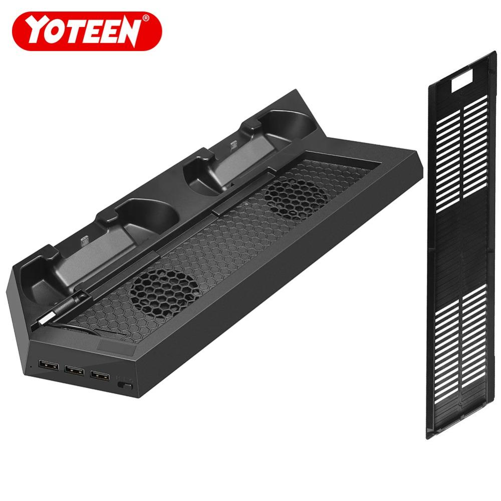 Yoteen Accessories for PS4 Slim Controllers مروحة تبريد عمودية ، محطة شحن مزدوجة لأجهزة PS4 Slim Charger Dock USB fans