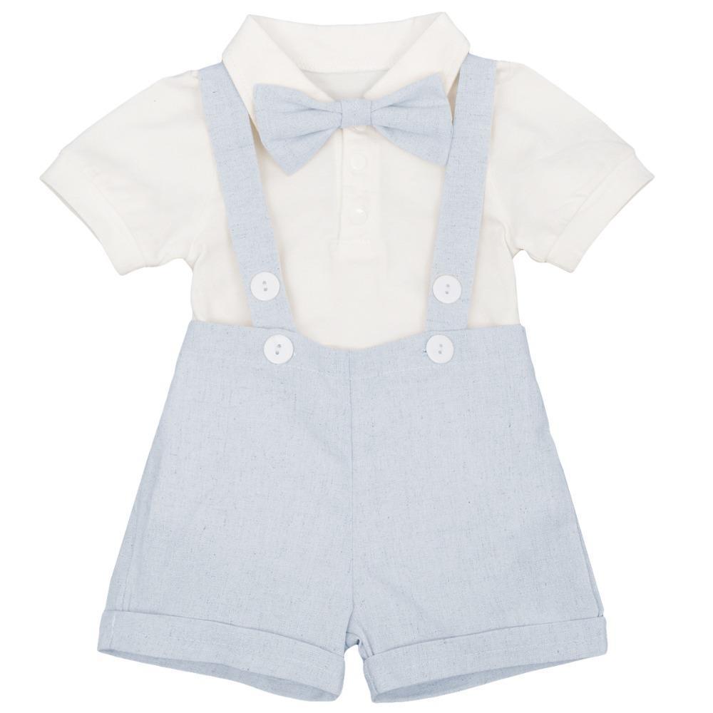 3pcs Set Cute Boys Baby Suspender Boxer Pants Romper Gentlemen Wedding Formal Suit Baby Clothes Baby Birthday Cake Smash Outfit J190520