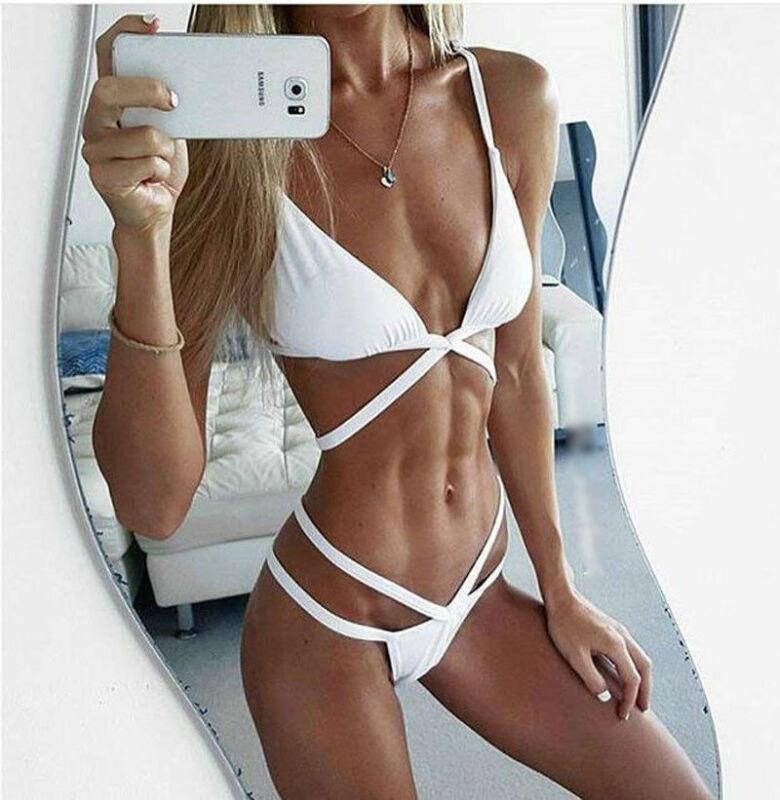 Plus Size XXL femmes Push-up Ensemble bikini Halter Croix-Triangle rembourré Soutien-gorge String Bas maillot de bain Femme Maillot de bain