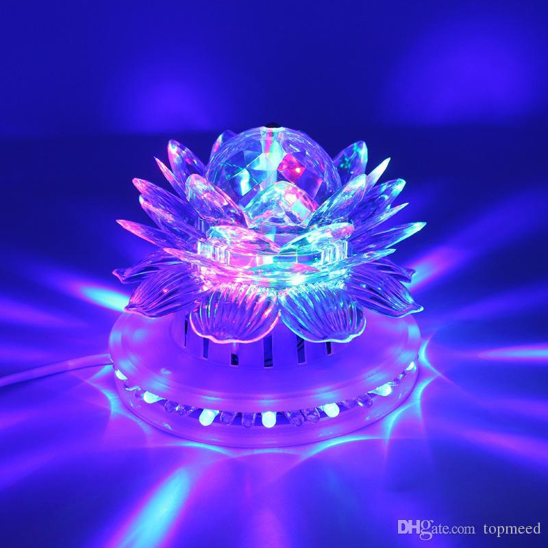 Lotus Effect Light Auto Rotating 11W LED RGB Crystal Stage Light 51pcs Bead Lamp for Home Decoration DJ Disco Bar Best Gift