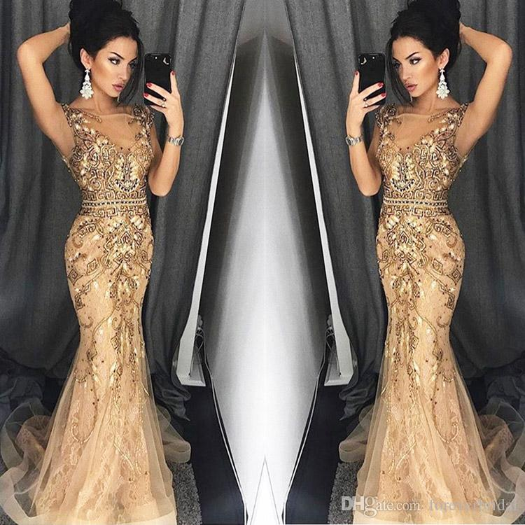 Gold//Sliver Fur Beaded Mermaid Luxury Prom Evening Party Dress pageant New Gown