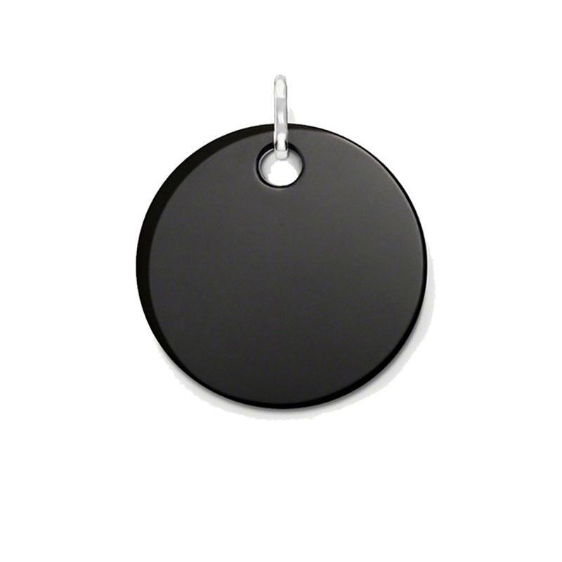 37 ملليمتر جولة الأسود الجزع القرص المعلقات ل قلادة النساء الرجال توماس نمط فضة الأزياء diy صنع المجوهرات اكسسوارات 2018 جديد