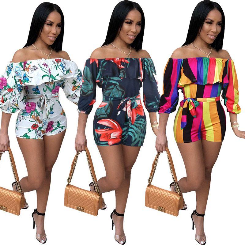 Frauen Floral Striped Print Overalls Sommer Sexy Schulterfrei Rüschen Mid Sleeve Short Pants Gürtel Strampler Stilvolle Kleidung in Übergrößen