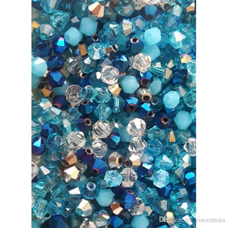 100pcs / lot 4mm Kristallperlen Bicone Form Steinschmuck Quaste Lariat Ohrring Glas Quarz-Charme-Armband-Zubehör
