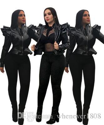 Yeni Günlük Moda Kadın Deri Sahte Deri fırfır Uzun Kollu İnce Bayan Dış Giyim Deri Ceket P508