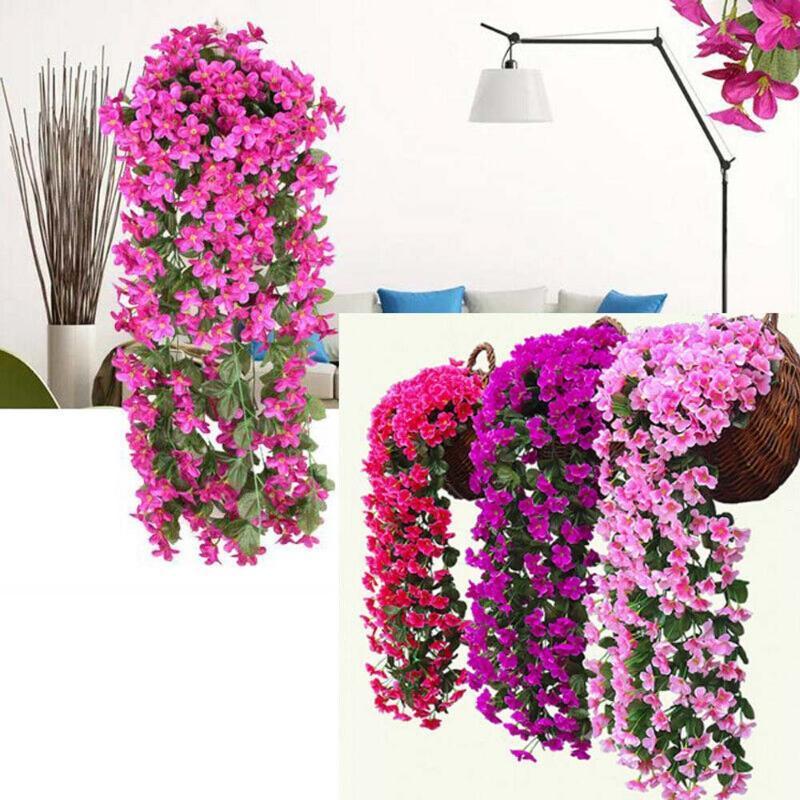 1 Mazzo Fiore artificiale artificiale Fake Flowers vite dell'edera Hanging Garland cerimonia nuziale della pianta della decorazione della casa