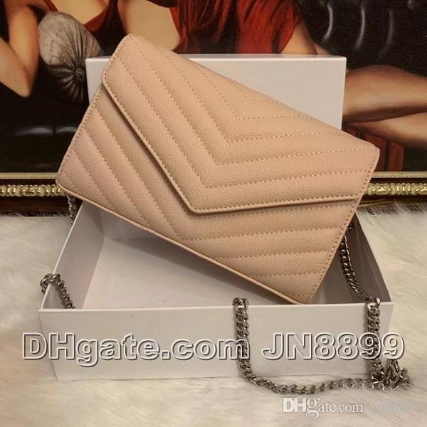 뜨거운 판매 패션 여성 어깨 가방 핸드백 캐비어 가죽 가방 실버 체인 크로스 바디 가방 핸드백 메신저 가방 상자