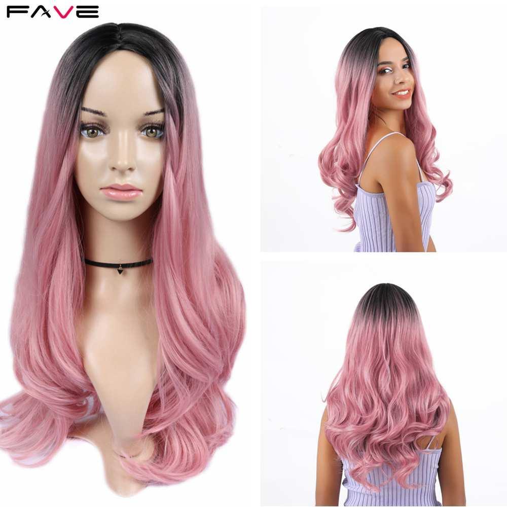 Синтетический None-парики шнурка FAVE Премиум Длинные синтетический парик Объемная волна Ombre Русый Блондин Черный Розовый Розовый Золотой Серый средняя часть
