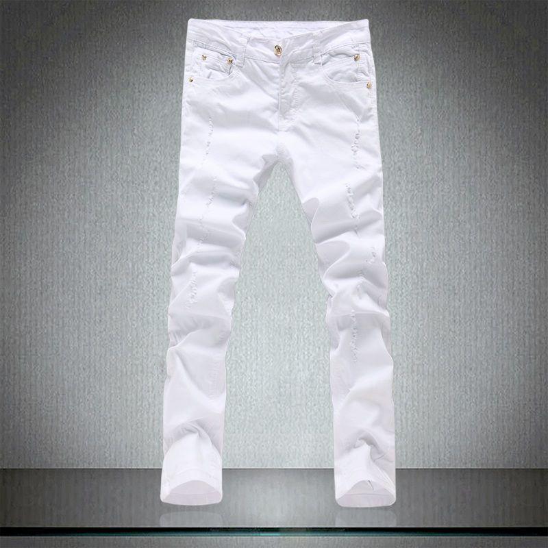 Bahar erkek sıkı saf beyaz kot erkek sıska pantolon yüksek kaliteli pamuk elastik delik ince eğlence pantolon erkekler