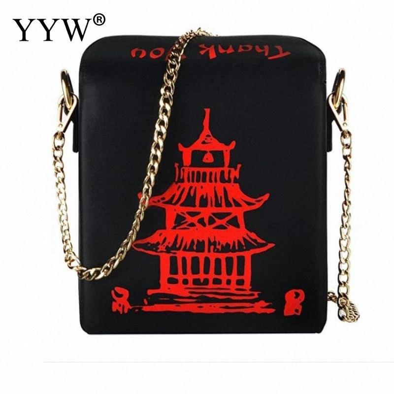 Chinese Takeout Box Tower Print Pu Leather Ladies Handbag Novelty Cute Women Girl Shoulder Bag Messenger Bag For Women Totes cVTY#