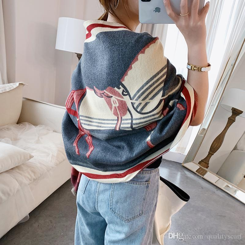 Winter Thick Warm Cashmere Scarves Designer Women Horse Carriage Blanket Scarf Wool Cotton Shawl Wr
