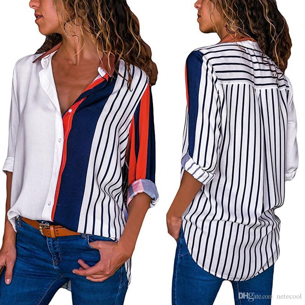 النساء الملابس الداخلية كتلة اللون مقلم قميص أنيقة مكتب سيدة بلوزة عادية كم طويل زر القميص القمم قميص