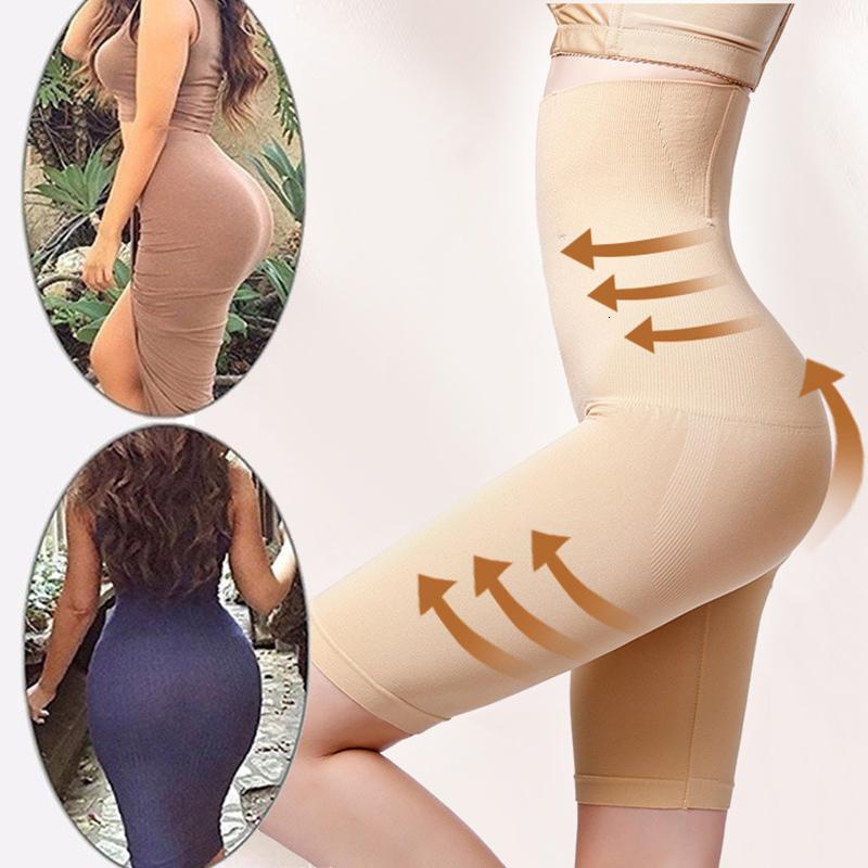 El control de la panza Mujeres Fajas alta cintura que adelgaza las bragas Media Pierna Body Shapers Shaping Pantalones cortos