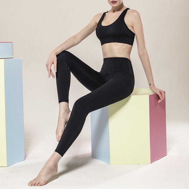 Yoga Outfits Naked Feeling Sports Pants Women Side Pocket Running High Quality Girls Black Sexy Slim Leggings Fitness