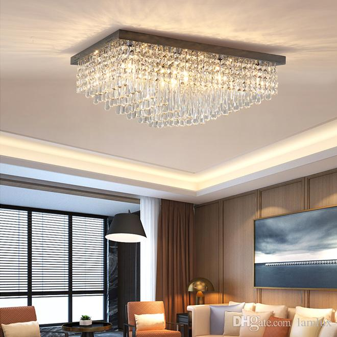 Новый дизайн современный прямоугольник хрустальная люстра потолочные светильники роскошные черные люстры из нержавеющей стали освещение led для гостиной спальни