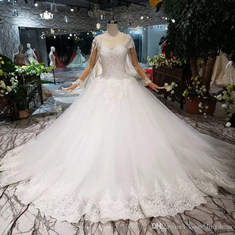 2019 Newest Luxury Style Wedding Dress Long Illusion Sleeve Lace Up Back Detail Applique Beaded Sweetheart Wedding Gown Court Train Croatia